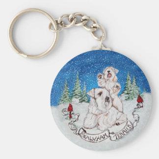 Invierno de Sealyham Terrier Llavero Redondo Tipo Pin