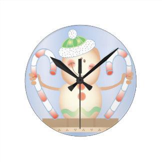 INVIERNO de Smore_Gingerbread_Man_and_Candycane_ F Reloj De Pared