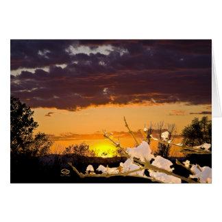 Invierno de Vermont de la puesta del sol Felicitaciones