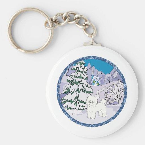 invierno del bichon llavero redondo tipo pin