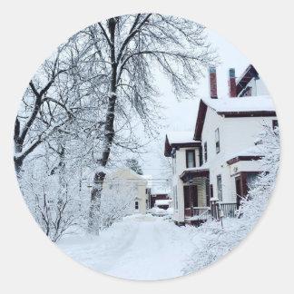 Invierno del blanco de Vermont Pegatina Redonda