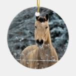 Invierno del caballo del ante adorno navideño redondo de cerámica