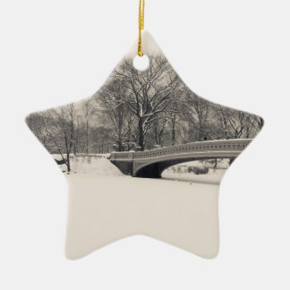 Invierno del Central Park - nieve del puente del a Ornamento De Reyes Magos