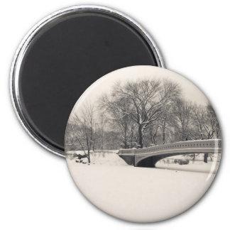 Invierno del Central Park - nieve del puente del a Imán