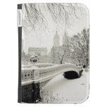 Invierno del Central Park - nieve en el puente del