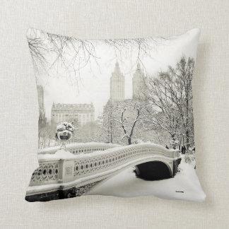 Invierno del Central Park - nieve en el puente del Cojín