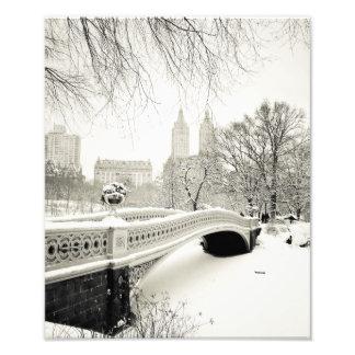 Invierno del Central Park - nieve en el puente del Fotografías