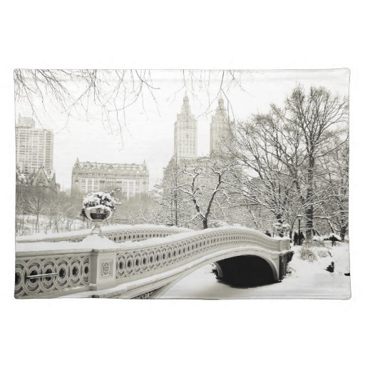 Invierno del Central Park - nieve en el puente del Manteles