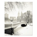 Invierno del Central Park - nieve en el puente del Fotos