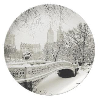Invierno del Central Park - nieve en el puente del Plato Para Fiesta