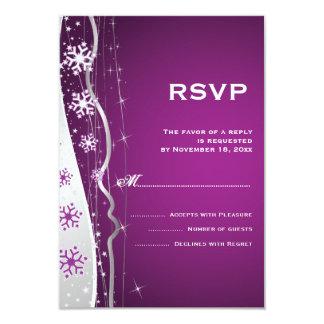 Invierno del copo de nieve del gris púrpura, de invitación personalizada