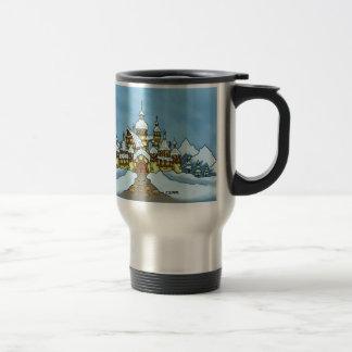invierno del día de fiesta del northpole tazas de café