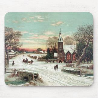 Invierno del navidad del vintage mouse pad