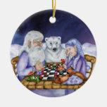 Invierno del viejo hombre y ajedrez Ornamnent del Adorno De Navidad