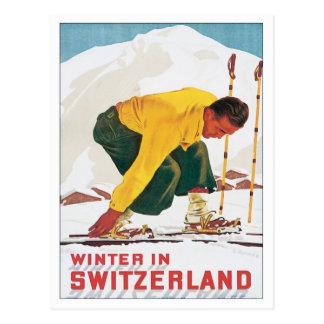 Invierno del vintage en Suiza Postales