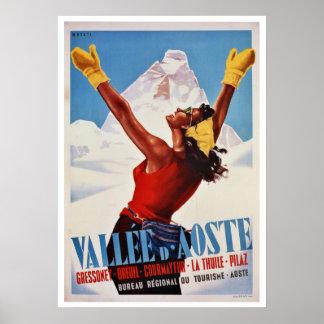 Invierno del vintage que camina viaje italiano de  posters
