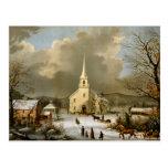 Invierno domingo en épocas antiguas postal