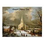 Invierno domingo en épocas antiguas tarjeta postal