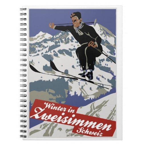 Invierno en anuncio del viaje del esquí del vintag libro de apuntes con espiral