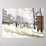 Invierno en Boulevard de Clichy, Francia Póster