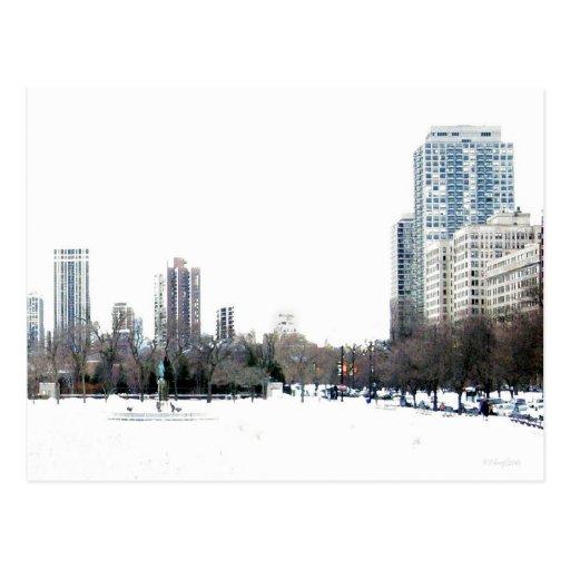 Invierno en Chicago Tarjetas Postales