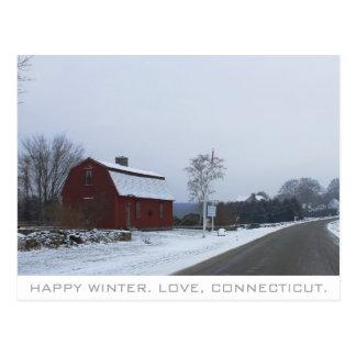 Invierno en Connecticut Tarjeta Postal