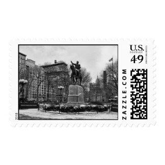 Invierno en el blanco negro del cuadrado 001 de la sellos