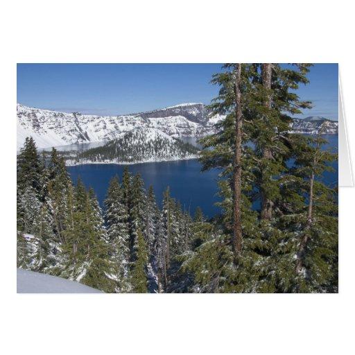 Invierno en el lago crater tarjetón