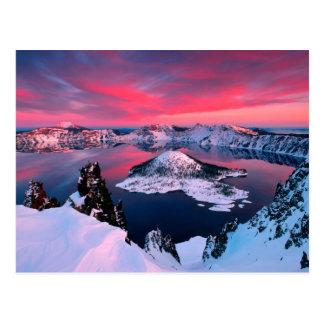 Invierno en el lago Oregon crater Postales