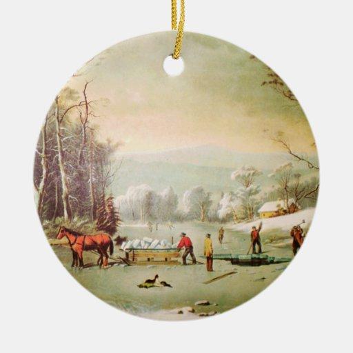 Invierno en el ornamento del navidad del país adorno navideño redondo de cerámica
