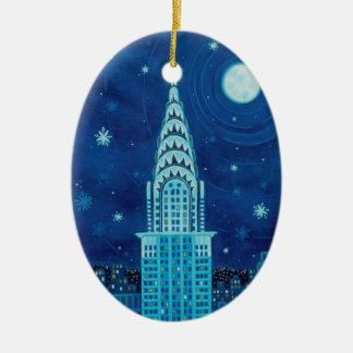 Invierno en el ornamento del óvalo de Nueva York Ornamento De Navidad