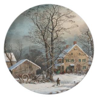 Invierno en el país, mañana del frío de A Plato De Comida