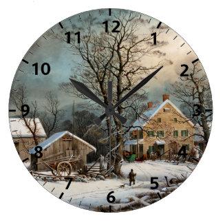 Invierno en el país, una mañana fría reloj