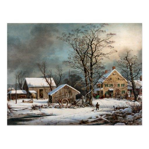 Invierno en el país, una mañana fría tarjetas postales