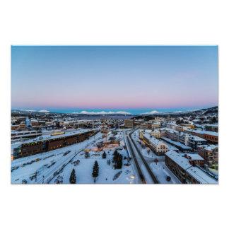 Invierno en la impresión de la foto de Narvik Cojinete