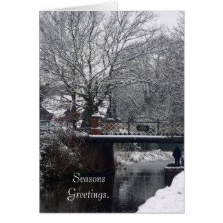 Invierno en la tarjeta del puente del horno