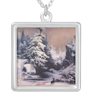 Invierno en los Rockies - 1867 Colgante Cuadrado
