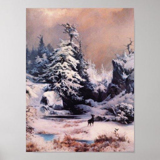 Invierno en los Rockies - 1867 Póster
