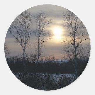 Invierno en Maine Pegatina Redonda