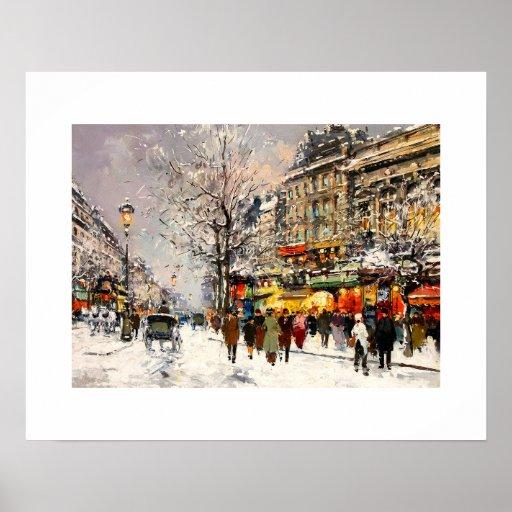 Invierno en París. Poster de la bella arte