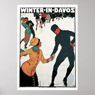 Invierno en poster del viaje del vintage de Davos