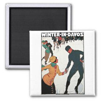 Invierno en poster del viaje del vintage de Davos Imanes Para Frigoríficos