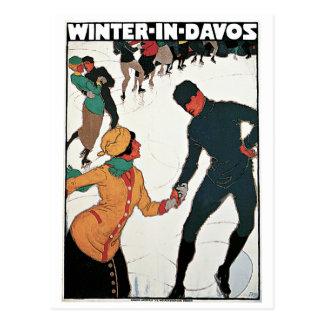 Invierno en poster del viaje del vintage de Davos Postal
