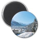 Invierno en St Moritz Imán Redondo 5 Cm