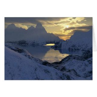 invierno en tierra del fractal tarjeta de felicitación