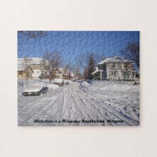 Invierno en una vecindad Wisconsin de Milwaukee Rompecabeza Con Fotos