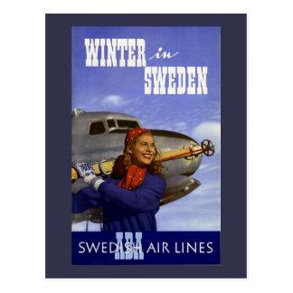 Invierno en viaje del vintage de Suecia Postales