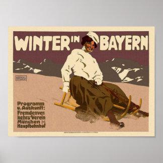 Invierno en vintage restaurado arte del viaje de B Póster