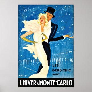 Invierno europeo del vintage en el viaje de Monte  Posters