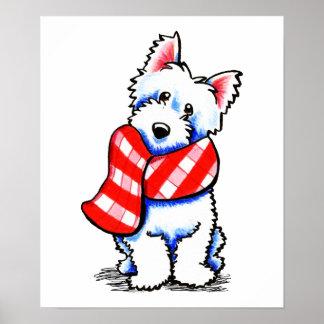 Invierno feliz de la bufanda de la tela escocesa póster